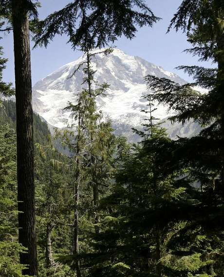 Mount Rainier as seen from the Wonderland Trail near Mowich Lake in Mount Rainier National Park, Wash. The 93-mile trail, established in 1915, encircles the mountain. Photo: JOHN FROSCHAUER, AP