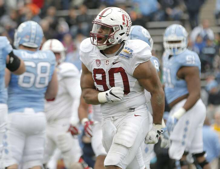 Stanford defensive lineman Solomon Thomas celebrates after sacking North Carolina quarterback Mitch Trubisky during the second half of the Sun Bowl NCAA college football game, Friday, Dec. 30, 2016, in El Paso, Texas. (AP Photo/Mark Lambie)