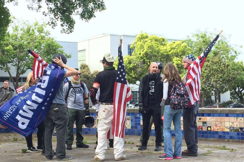 Trump supporters began to gather at Berkeley's Civic Center Park on Thursday morning in anticipation of protests over conservative commentator Ann Coulter.