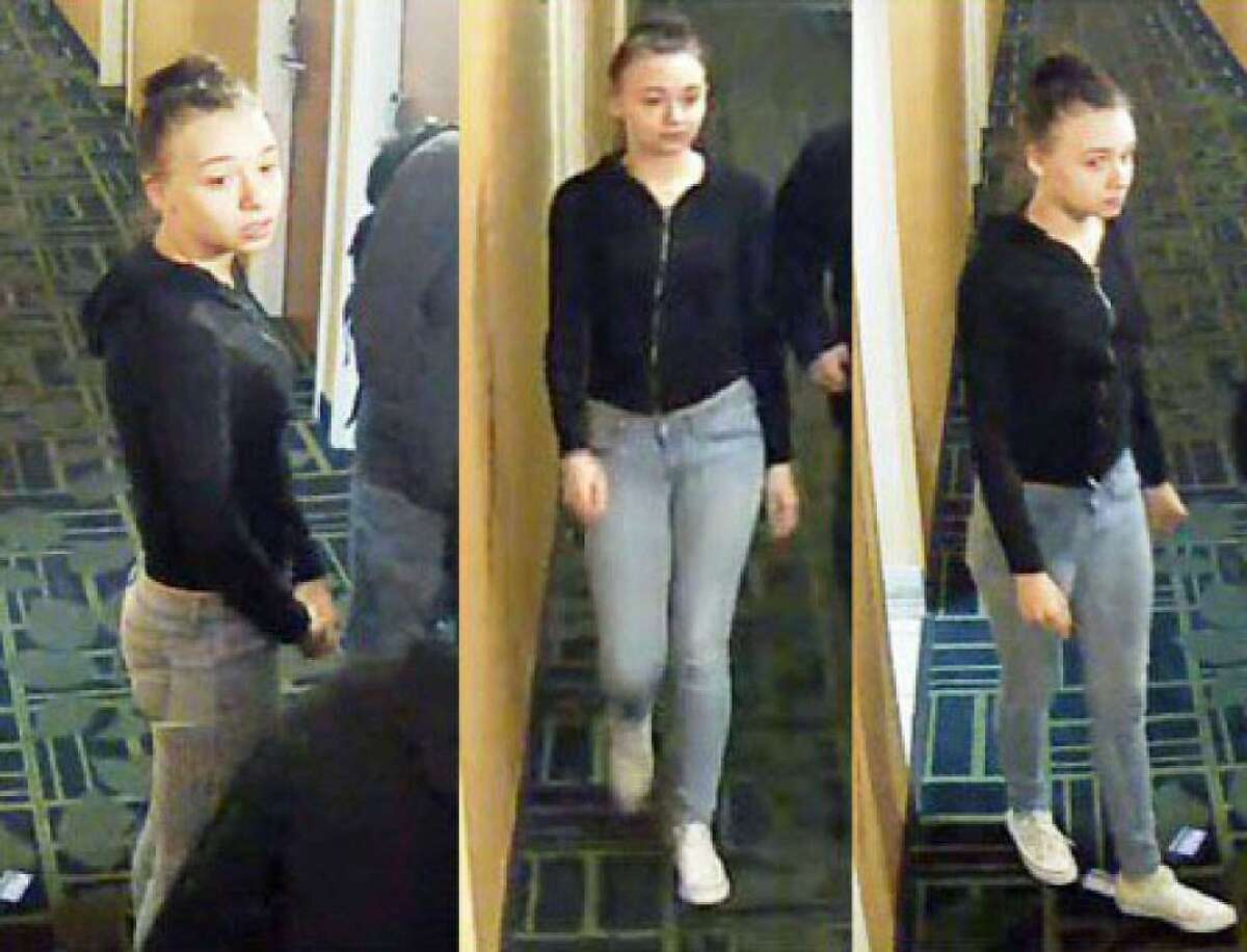 Jacqueline Steck, 18, of Ellis Street, Milford, was taken into custody and charged with first-degree robbery, first-degree burglary, first-degree kidnapping with a firearm. criminal use of a firearm and first-degree larceny. The charged stem from the robbery of a person at the Motel 6 on April 12, 2017. These images were taken on the night of the robbery.