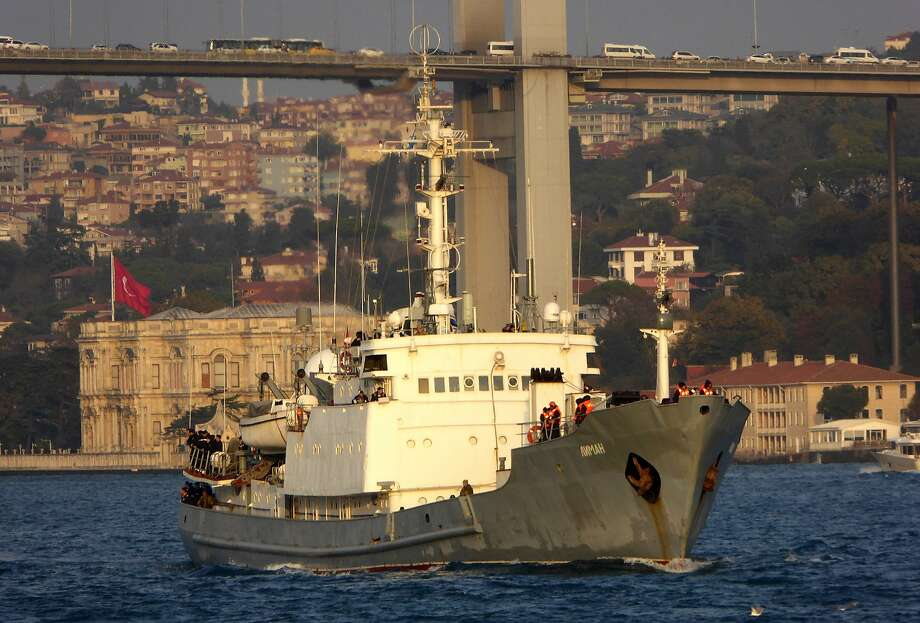 The Liman, a Russian naval spy ship, passed through the Bosphorus last year on its way to Syria. The ship sank in the Black Sea off Turkey's coast after hitting a Togo-flagged vessel. Photo: ALPER BOLER, AFP/Getty Images