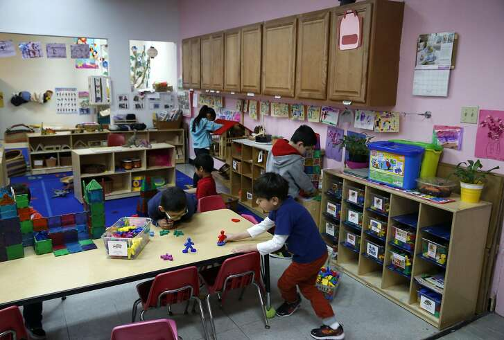 Pre-kindergarten students play in a classroom at the Mission Childcare Consortium in San Francisco, Calif. on Thursday, April 27, 2017. With assistance from Mayor Ed Lee and Supervisor Ahsha Safai, Joseph Martinez, the founder and executive director of the childcare center since 1992, was able to secure a down payment to purchase the building from the landlord who was planning a rent increase.