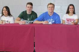 A group of Bethel High School senior student-athletes made their college plans official during a signing-day ceremony at the school on April 27, 2017. Pictured are, from left, Jack Kelly (Clark University, lacrosse); Spencer Olson (University of Tampa, golf); Dakota Nyborg (Eastern Connecticut State, basketball); Manuella Rios (Johnson and Wales, field hockey); Chris Rice (Castleton University, football); Jared Zieman (Becker College, football); Sofia Orrico (Worcester Polytechnic Institute, soccer); Amanda Towey (Tufts University, basketball); Hannah Kelm (Central Connecticut State, track and field); and Heather Sholtes (Eastern Connecticut State, field hockey).
