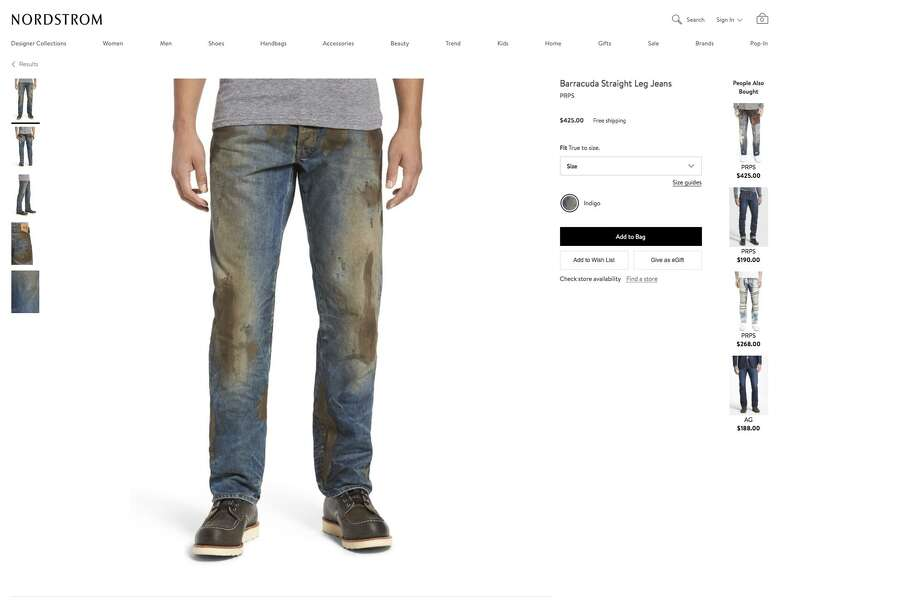 Barracuda Straight Leg Jeans, shown in this screengrab from Nordstrom.com, come with with some sort of fake mud substance caked all over them. Photo: Screengrab
