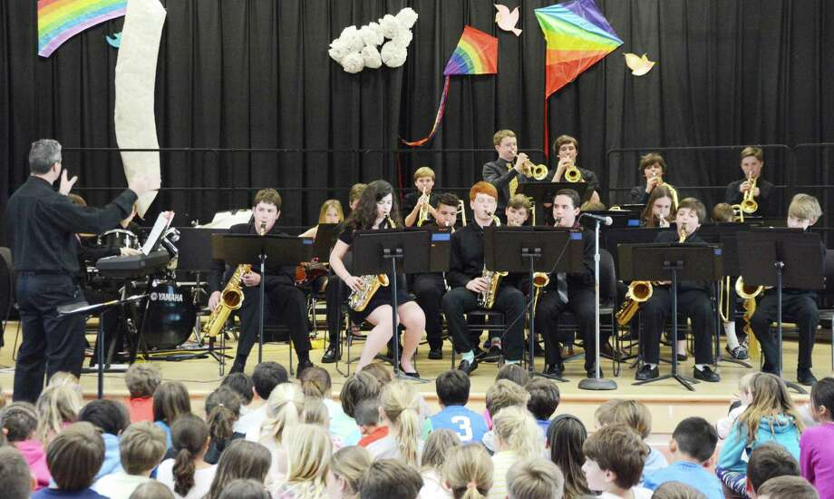 The Middlesex Middle School Jazz Ensemble performs at Tokeneke Elementary School on April 19. Photo: Contributed Photo
