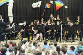 The Middlesex Middle School Jazz Ensemble performs at Tokeneke Elementary School on April 19.