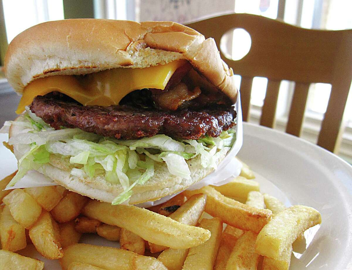 Texas Cheeseburger with bacon and fries from Patsy's Place.