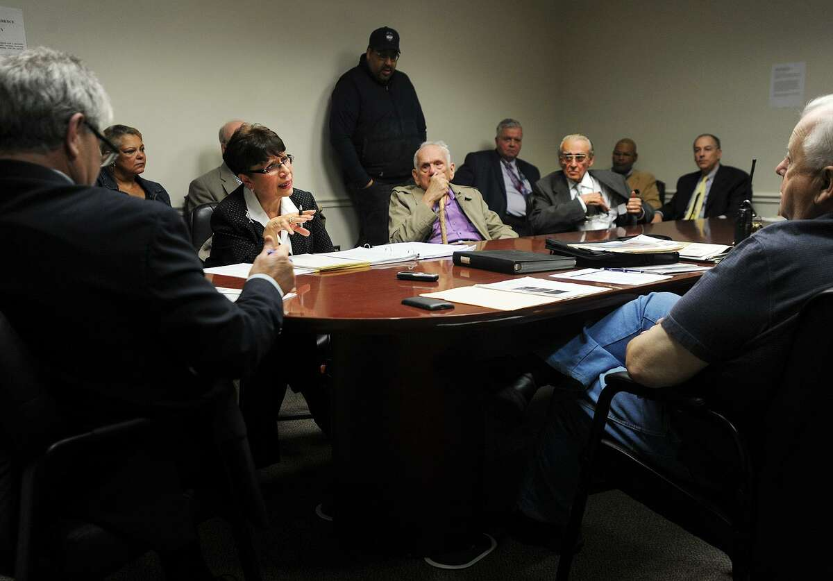 Former Superior Court judge Carmen Lopez argues her appeal for a parking ticket received from the new downtown parking meters in a hearing at City Hall in Bridgeport, Conn. on Thursday, April 27, 2017.
