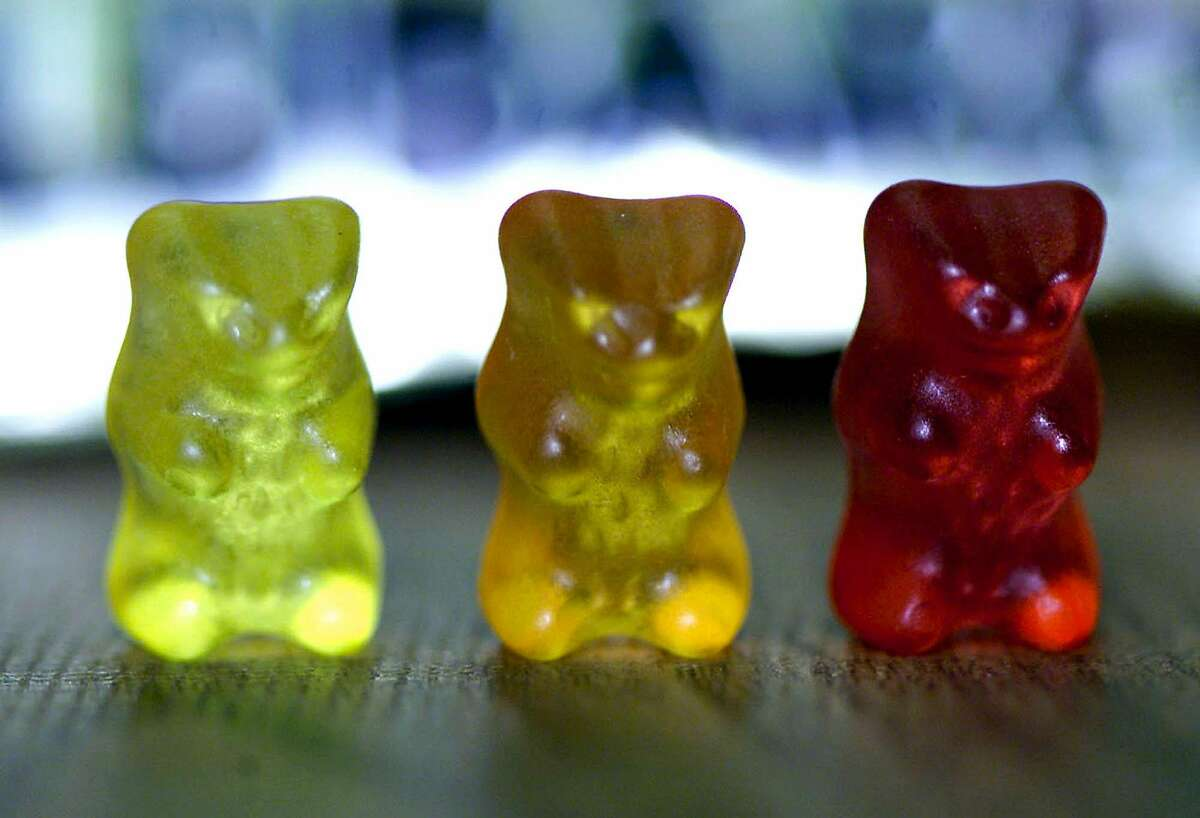 Three gelatine gummi bears are pictured, Thursday, March 15, 2001 at the Haribo company in Linz, Austria. While gummi bears are childhood staples in Europe and the Americas, aversion to the pork-based gelatin that gives the candy its trademark rubbery texture has long ruled them out in regions where religious law governs the daily diet. (AP Photo/RUBRA)