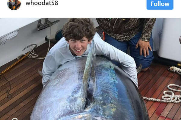 Louisiana 14-year-old reels in a monster 835-pound bluefin tuna in the Gulf of Mexico on Saturday, April 22, 2017. Source:  Instagram