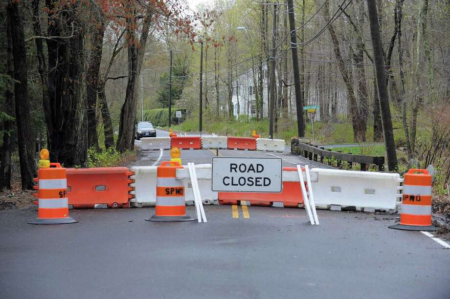 The Riverbank Road Bridge, pictured Wednesday, is closed for repairs. Photo: Matthew Brown / Hearst Connecticut Media / Stamford Advocate