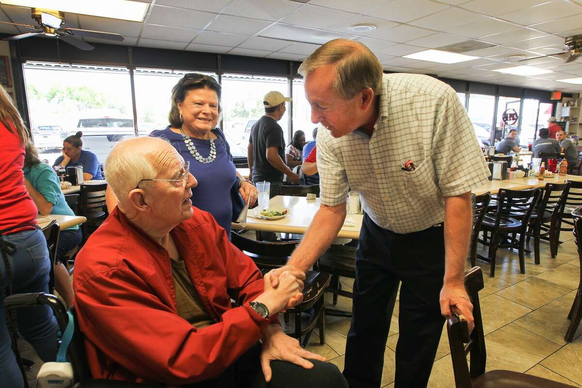 Charles Brawner, a mayoral candidate for the city of Katy (right), chats with Clyde and Glenda Williams at Snappy's Cafe and Grill Thursday, April 27, 2017, in Katy.