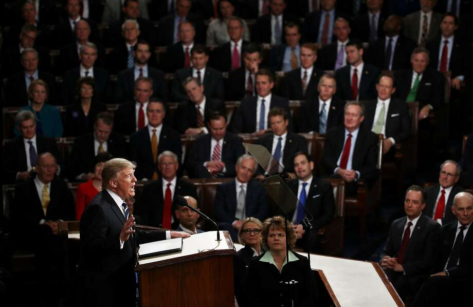 President Trump speaks in February before a joint session of Congress, where he outlined plans for his administration. Trump has found that many of the promises he made on the campaign trail have been difficult to turn into legislative action. Photo: Win McNamee, Getty Images