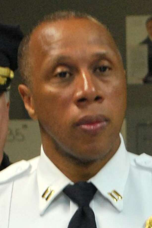 Police Captain Roderick Porter at a press conference on Monday, March 14, 2016. Behind Porter is Deputy Police Chief James Honis. Photo: Contributed Photo / Contributed Photo / Connecticut Post contributed