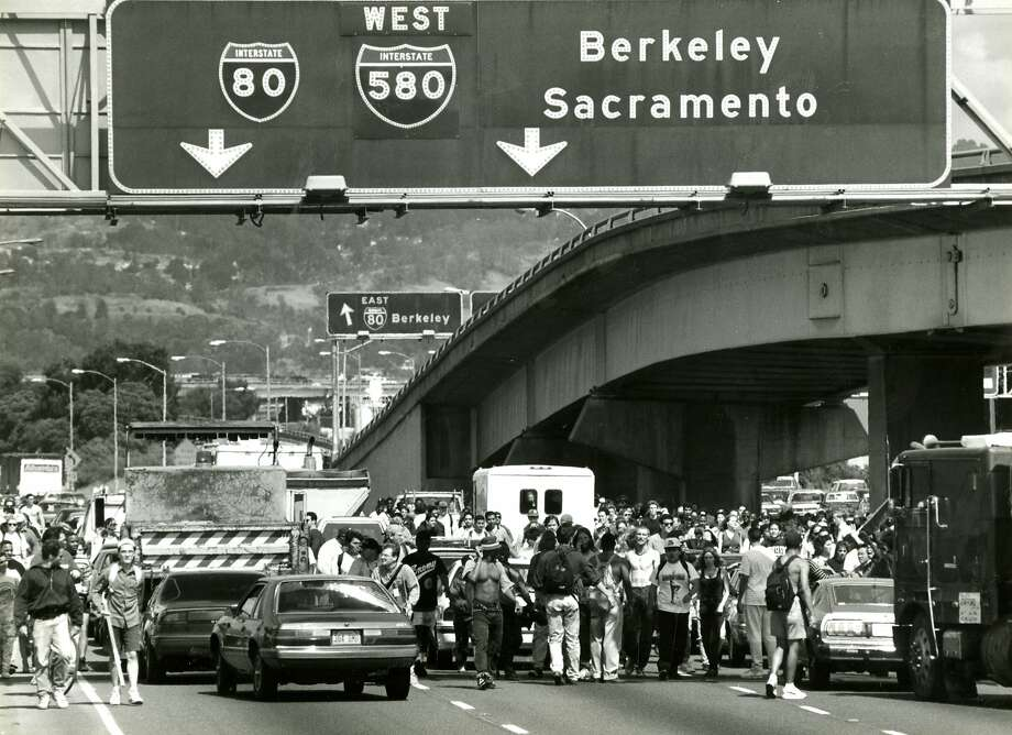 Rodney King protesters take over Highway 80 heading for the Bay Bridge in this file photo from May 1, 1992. Photo: Liz Hafalia, San Francisco Chronicle