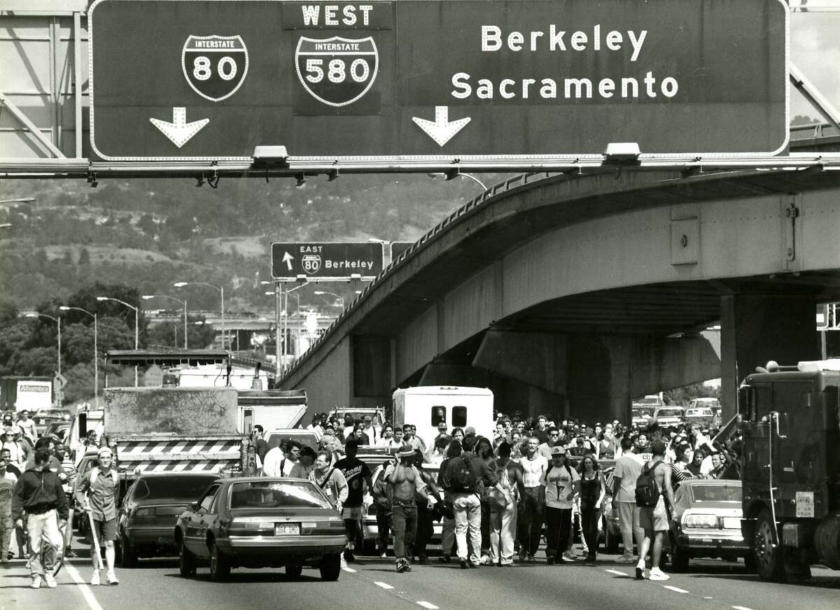 Rodney King protesters take over Highway 80 heading for the Bay Bridge in this file photo from May 1, 1992.