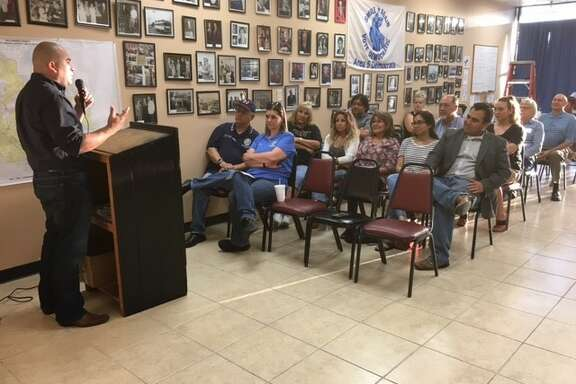 Pasadena Councilman Sammy Casados speaks at an event organized by Area 5 Democrats.