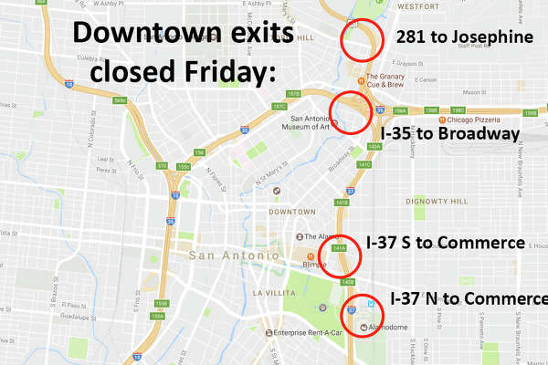 Along with the parade route, downtown exits will also be closed Friday for Battle of Flowers. Those include: Commerce at I-37/281 North; Commerce at I-37/281 South; Josephine at 281 South and Broadway at I-35.