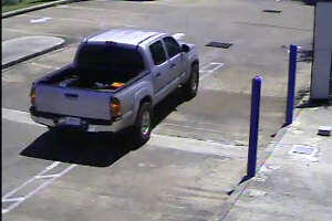The alleged getaway car used by suspects in a Thursday afternoon southwest Houston bank robbery.
