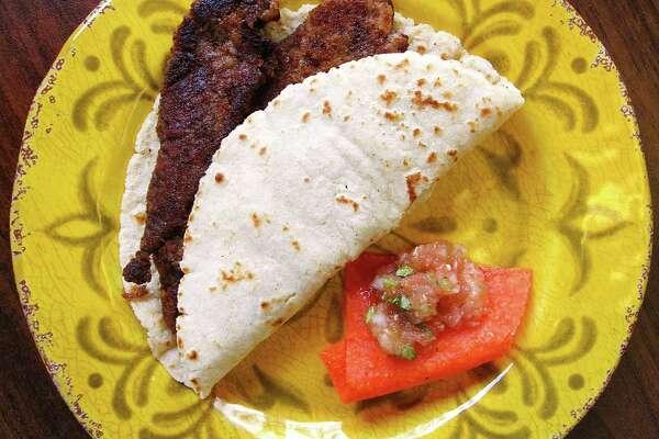 Milanesa taco on a handmade corn tortilla from Torresitas Mexican Restaurant on Culebra Road.