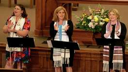 Rabbi Marina Yergin (from left), Senior Rabbi Mara Nathan, and Cantor Julie Berlin sing as they lead the Shabbat Worship Service in June 2016 at Temple Beth-El. Nathan was one of 200 spiritual leaders who signed a letter sent to Texas lawmakers urging equal treatment for all Texans.