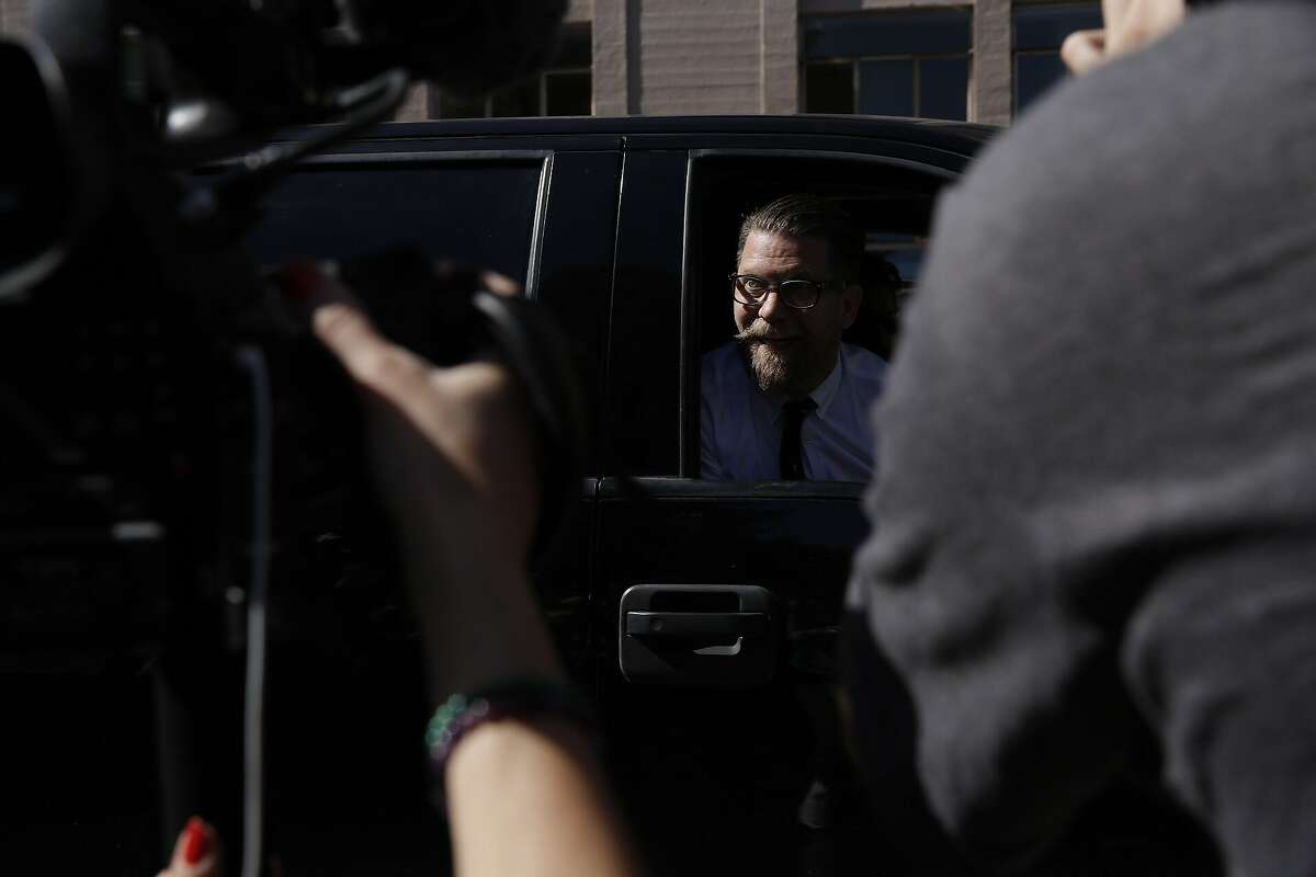Vice Media co-founder Gavin McInnes leaves MLK Park after giving a speech on Thursday, April 27, 2017, in Berkeley, Calif. Conservative commentator Ann Coulter was to speak at UC Berkeley, but cancelled after groups sponsoring her event no longer supported her appearance.