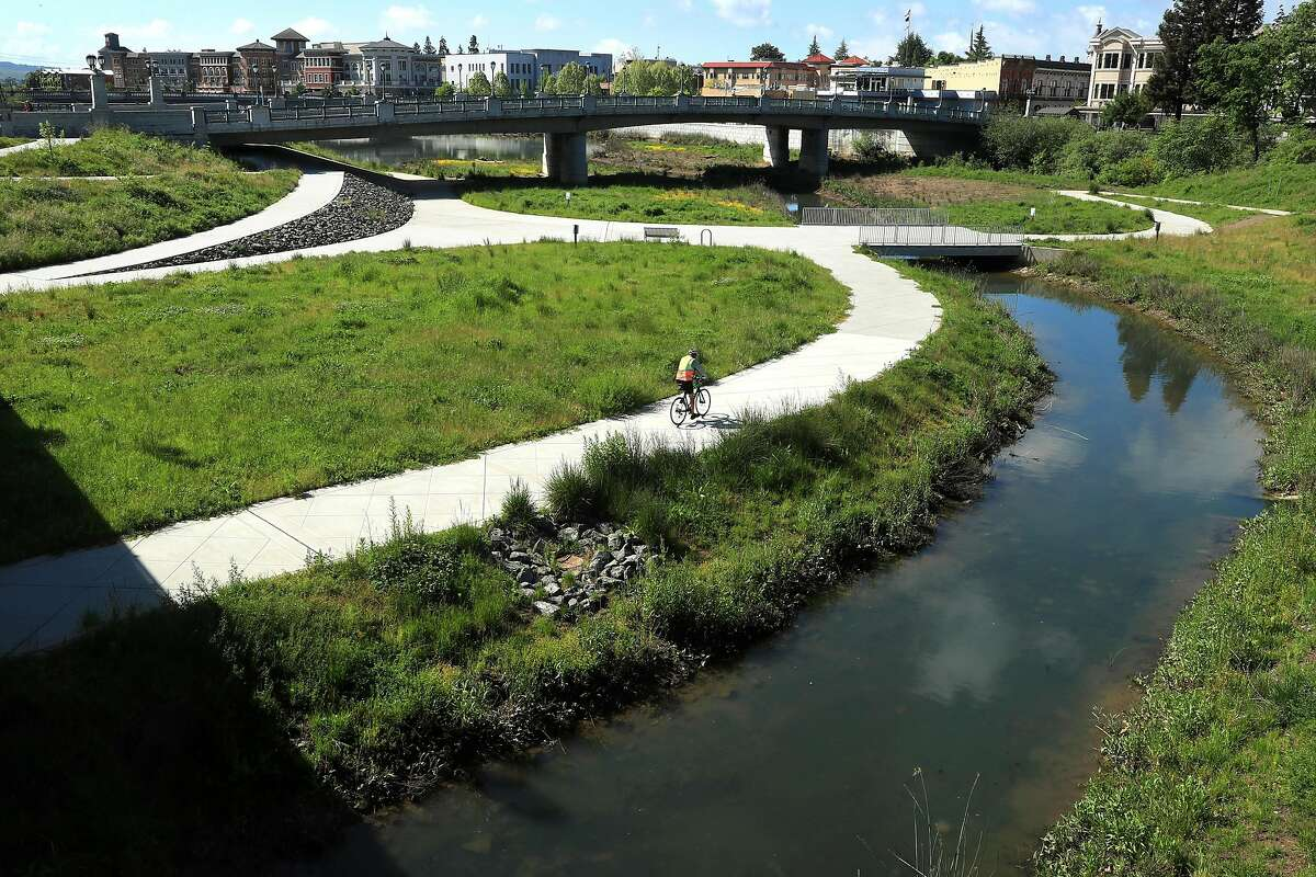 The Oxbow bypass below the Soscol Ave. and First Street Bridges in downtown Napa, Calif., on Thurs. April 20, 2017. The bypass doubles as flood protection for downtown Napa and a park.