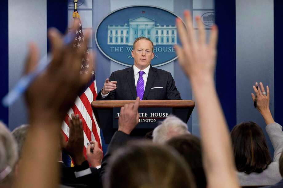 White House press secretary Sean Spicer discussed President Donald Trump's tax overhaul plan with  questioning reporters during the daily press briefing at the White House on Thursday. Photo: Andrew Harnik, STF / Copyright 2017 The Associated Press. All rights reserved.