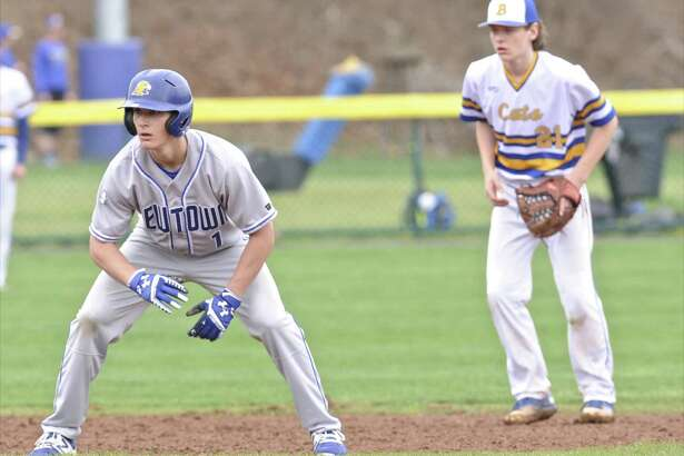 Boys baseball game between Newtown and Brookfield high schools, on Thursday afternoon, April 27, 2017, at Newtown High School, in Newtown, Conn.
