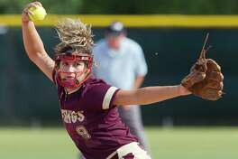 Magnolia West pitcher Ariana Adams (9) throws during the first inning of a Region III-5A  bi-district playoff softball game, Thursday, April 27, 2017, in Bryan.