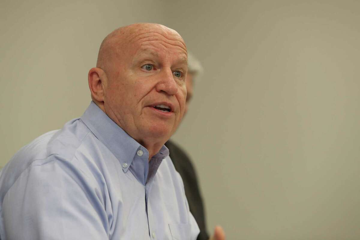 Congressman Kevin Brady talks to local people affected by ObamaCare who shared their experiences with rising costs and loss of coverage and choice Tuesday, Jan. 17, 2017, in The Woodlands. Congressman Brady who is leading repeal and replace efforts in the Ways and Means Committee. ( Steve Gonzales / Houston Chronicle )