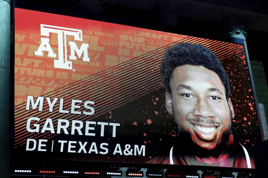 PHILADELPHIA, PA - APRIL 27:  A detailed view of the screen on stage of Myles Garrett of Texas A&M after being picked #1 overall by the Cleveland Browns during the first round of the 2017 NFL Draft at the Philadelphia Museum of Art on April 27, 2017 in Philadelphia, Pennsylvania.  (Photo by Elsa/Getty Images) Photo: Elsa/Getty Images