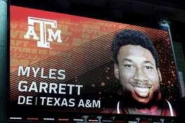 PHILADELPHIA, PA - APRIL 27:  A detailed view of the screen on stage of Myles Garrett of Texas A&M after being picked #1 overall by the Cleveland Browns during the first round of the 2017 NFL Draft at the Philadelphia Museum of Art on April 27, 2017 in Philadelphia, Pennsylvania.  (Photo by Elsa/Getty Images)