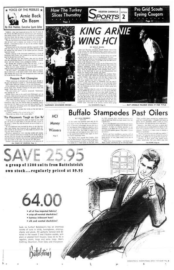 Houston Chronicle inside page - November 21, 1966 - section 2, page 1. KING ARNIE WINS HCI Photo: HC Staff / Houston Chronicle