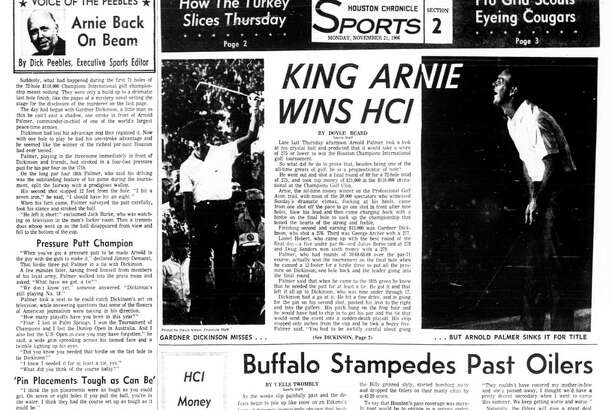 Houston Chronicle inside page - November 21, 1966 - section 2, page 1. KING ARNIE WINS HCI