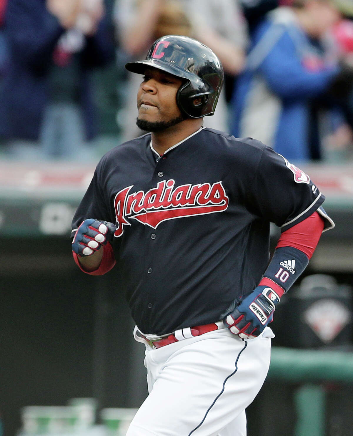 Cleveland Indians' Edwin Encarnacion runs the bases after hitting a solo home run off Houston Astros starting pitcher Mike Fiers during the second inning of a baseball game, Thursday, April 27, 2017, in Cleveland. (AP Photo/Tony Dejak)