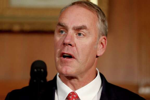Interior Secretary Ryan Zinke speaks at the Interior Department in Washington, Wednesday, April 26, 2017, before President Donald Trump signed an Antiquities Executive Order. (AP Photo/Carolyn Kaster)