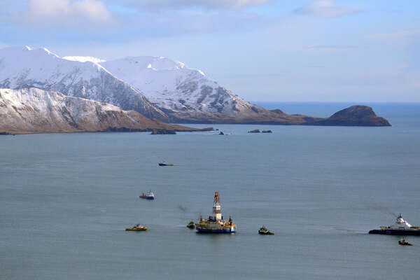 The oil drill rig Kulluk in 2013 off Kodiak Island in Alaska. President Donald Trump has signed  an order opening up protected waters to offshore drilling.