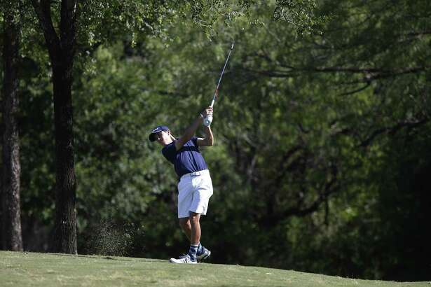 Johnson's Johnny Keefer shoots for the No. 2, par 5 green with his second shot during the final round of the Region IV-6A golf tournament at the Republic Golf Club on Thursday, Apr. 27, 2017. (Kin Man Hui/San Antonio Express-News)  .