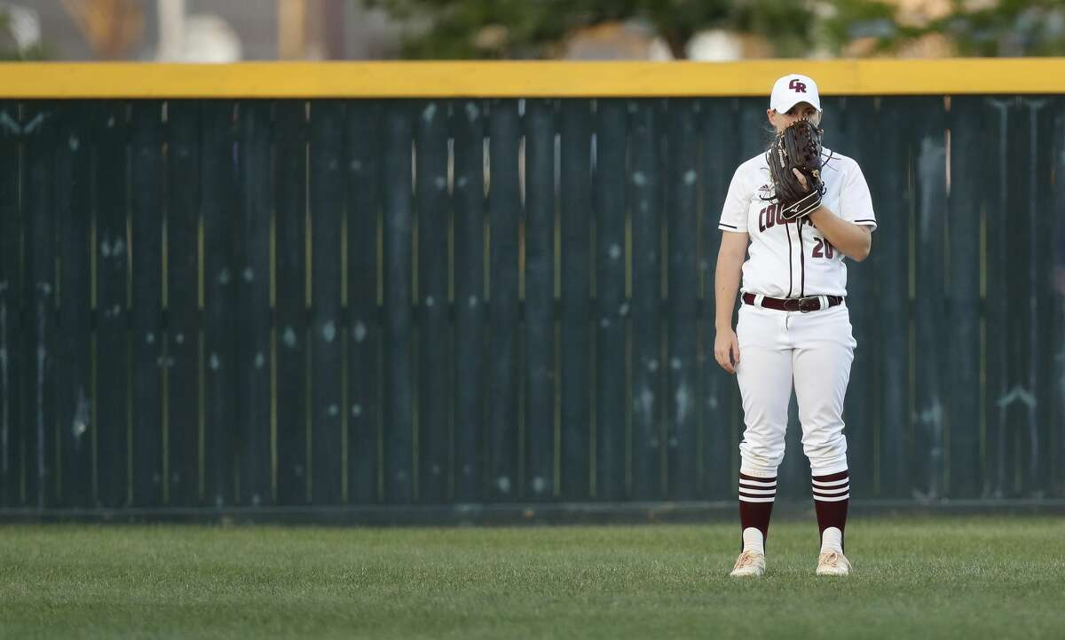 Cinco Ranch's Hailey Cook watches a pitching change in the fifth inning during the Class 6A bi-district softball playoffs between Ridge Point and Cinco Ranch High Schools at Stratford High School, Thursday, April 27, 2017, in Houston. ( Karen Warren / Houston Chronicle )
