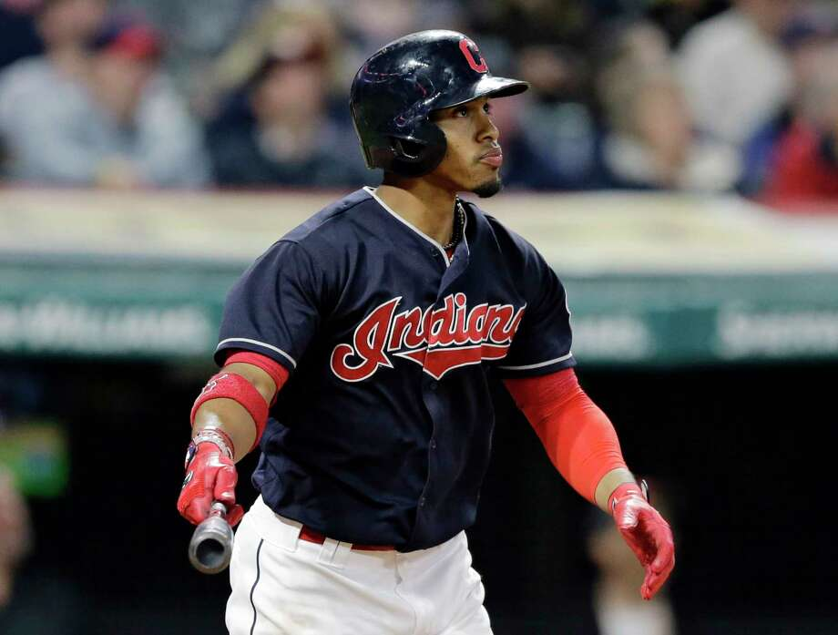 Cleveland Indians' Francisco Lindor watches his two-run home run off Houston Astros relief pitcher Chris Devenski during the seventh inning of a baseball game, Thursday, April 27, 2017, in Cleveland. (AP Photo/Tony Dejak) Photo: Tony Dejak, STF / AP 2016