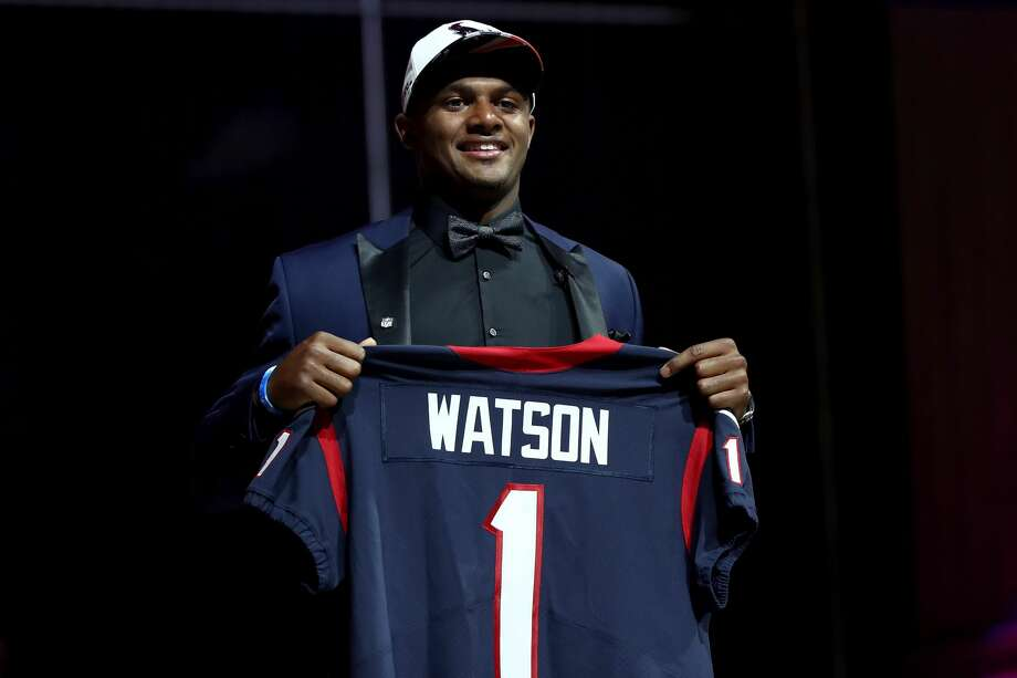 PHILADELPHIA, PA - APRIL 27:  Deshaun Watson of Clemson reacts after being picked #12 overall by the Houston Texans during the first round of the 2017 NFL Draft at the Philadelphia Museum of Art on April 27, 2017 in Philadelphia, Pennsylvania.  (Photo by Elsa/Getty Images) Photo: Elsa/Getty Images