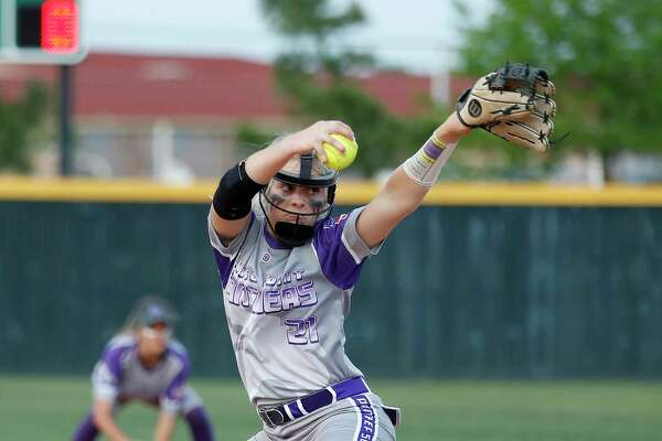 Ridge Point's Makinzy Herzog didn't allow a hit in Thursday's five-inning game and was backed by 20 hits.