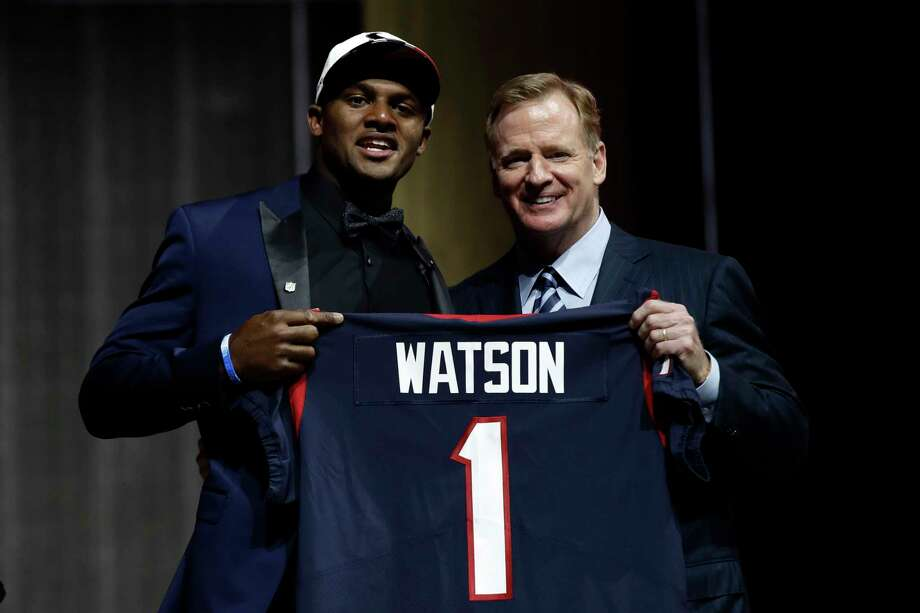 Clemson's Deshaun Watson, left, poses with NFL commissioner Roger Goodell after being selected by the Houston Texans during the first round of the 2017 NFL football draft, Thursday, April 27, 2017, in Philadelphia. (AP Photo/Matt Rourke) Photo: Matt Rourke, STF / Copyright 2017 The Associated Press. All rights reserved.