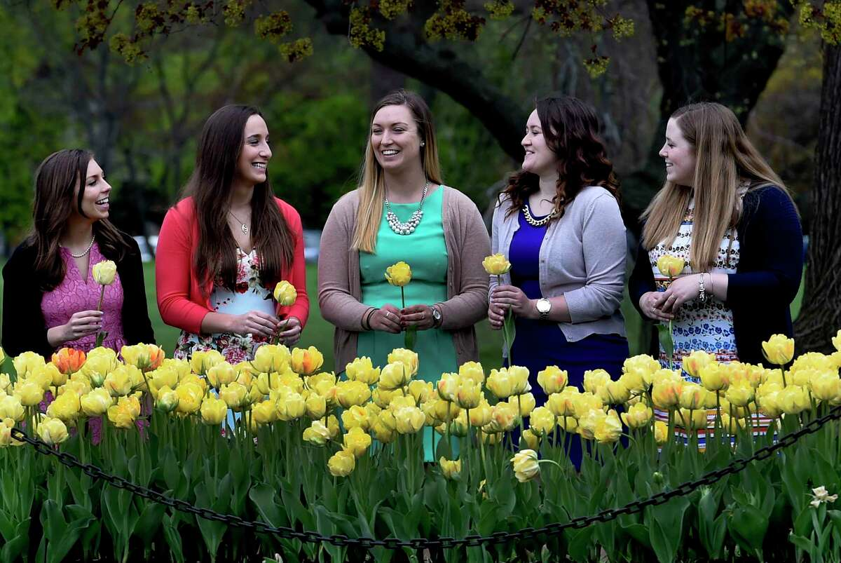 Albany Mayor Kathy Sheehan announced the five finalists for the 69th Albany Tulip Festival Queen Thursday April 26, 2017 in Washington Park in Albany, N.Y. The finalists from left to right are; Erin Bryk 21, of Latham; Ashley Loggins, 21 from Albany; Kelly Phillips 21 from Loudonville; Julianna Rauf 19, from Medusa and Amanda Volk 21 of Albany. (Skip Dickstein/Times Union)