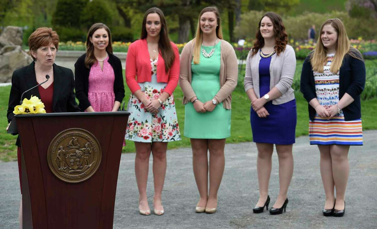 Albany Mayor Kathy Sheehan, left introduces the five finalists for the 69th Albany Tulip Festival Queen Thursday April 26, 2017 in Washington Park in Albany, N.Y. The finalists from left to right are; Erin Bryk 21, of Latham; Ashley Loggins, 21 from Albany; Kelly Phillips 21 from Loudonville; Julianna Rauf 19, from Medusa and Amanda Volk 21 of Albany. (Skip Dickstein/Times Union)