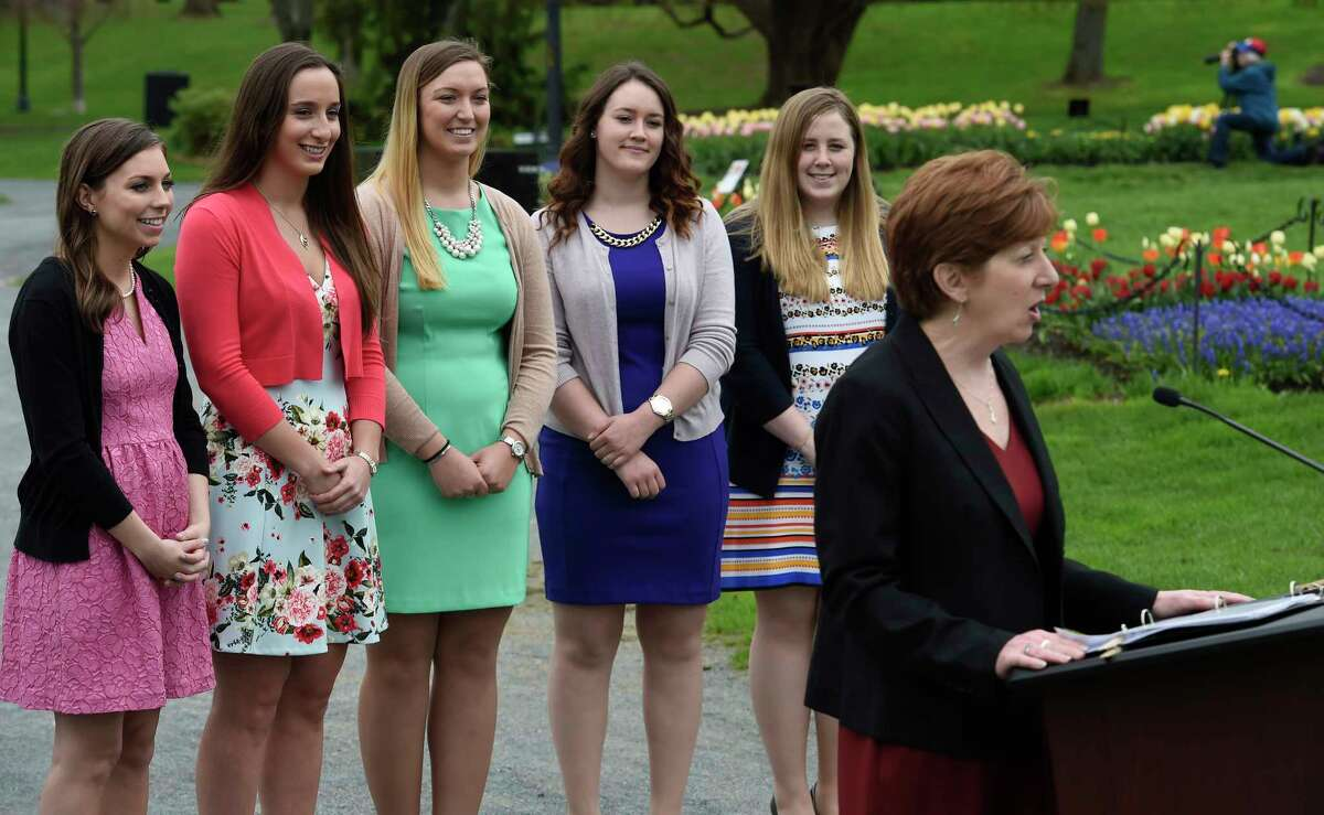 Albany Mayor Kathy Sheehan, right, introduces the five finalists for the 69th Albany Tulip Festival Queen Thursday April 26, 2017 in Washington Park in Albany, N.Y. The finalists from left to right are; Erin Bryk 21, of Latham; Ashley Loggins, 21 from Albany; Kelly Phillips 21 from Loudonville; Julianna Rauf 19, from Medusa and Amanda Volk 21 of Albany. (Skip Dickstein/Times Union)