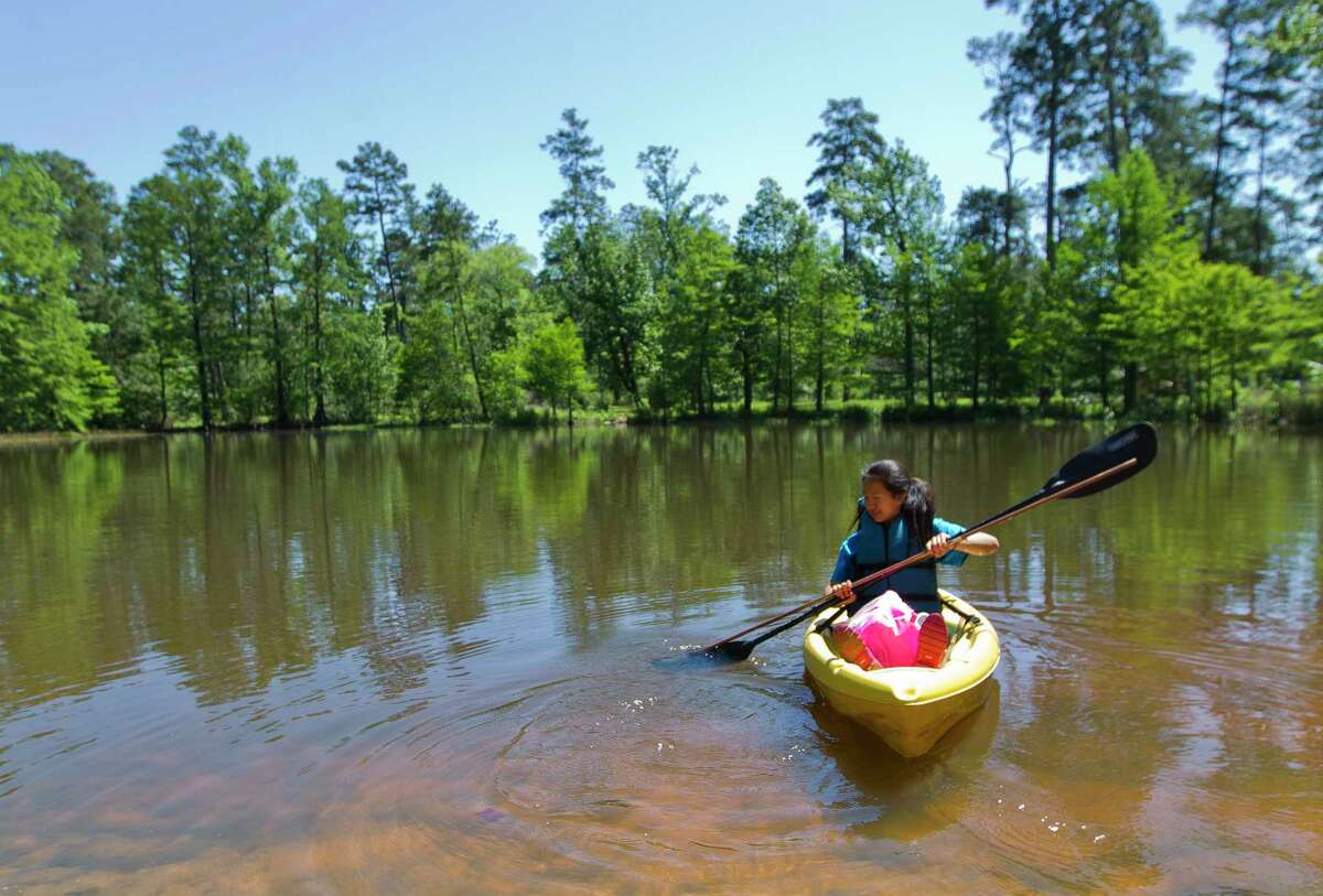 Sunny Yu paddles out into a lake to test aquatic biology as she and other students from the Academy of Science and Technology at College Park High School conducted various environment experiments at William Goodrich Jones State Forest April 27 in Conroe.