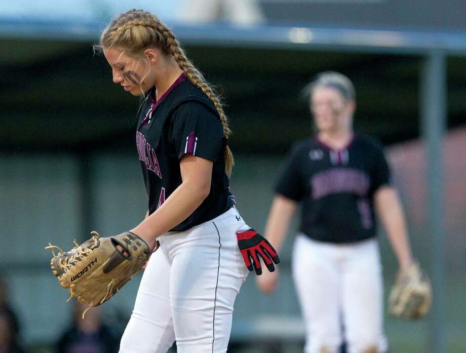 Magnolia pitcher Skylar Shanahan (4) looks down at the ground during the third inning of a Region III-5A  bi-district playoff softball game, Thursday, April 27, 2017, in Bryan. Photo: Jason Fochtman, Staff Photographer / © 2017 Houston Chronicle