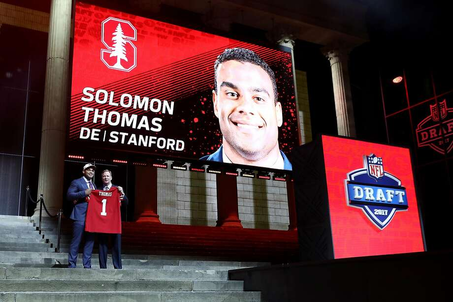 PHILADELPHIA, PA - APRIL 27:  (L-R) Solomon Thomas of Stanford poses with Commissioner of the National Football League Roger Goodell after being picked #3 overall by the San Francisco 49ers (from Bears) during the first round of the 2017 NFL Draft at the Philadelphia Museum of Art on April 27, 2017 in Philadelphia, Pennsylvania.  (Photo by Elsa/Getty Images) Photo: Elsa, Getty Images